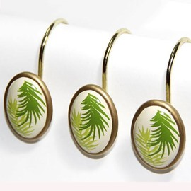 Graceful European Palm Leaf Print 12-piece Shower Curtain Hooks