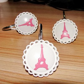 Romantic Lace Rim Eiffel Tower 12-piece Shower Curtain Hooks