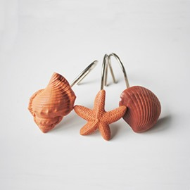 Orange Shell and Starfish Pattern Resin 12-Pieces Shower Curtain Hooks