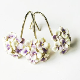 Country Style Violet Pattern Resin 12-Pieces Shower Curtain Hooks