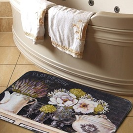 High-end Country Style Elegant Flower Vases Print Water Absorption Bath Rug