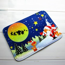Festival Christmas Theme Santa Claus on Snowy Night Anti-Slipping Doormat