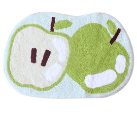 Green Apple Fruits Print Bath Rug