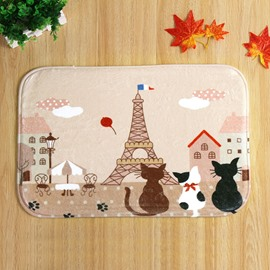 Cute Cartoon Cat and Tower Pattern Anti-Slipping Doormat