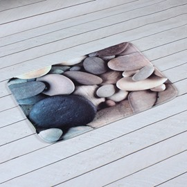 Real-Like Pebble Printing 3D Skid Resistance Bath Rug