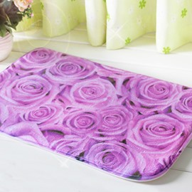 Gorgeous Purple Roses Printing Soft 3D Bath Rug