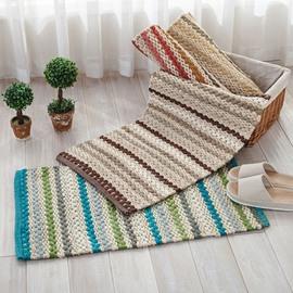 Handmade Rectangle Wearproof Slip Resistant Cotton Decorative Doormat