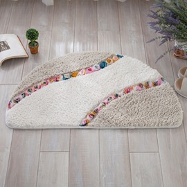 Semicircle Three-dimensional Flower Pattern Design Slip Resistant Decorative Doormat