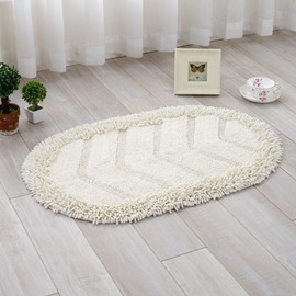 Simple Style Oval Shape Cotton Chenille 5 Colors Decorative Slip Resistant Doormat