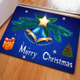 Blue Merry Christmas Jingle Bell Pattern Rectangle Non Slip Doormat