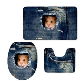 Cute Hamster in the Jean 3D Printing 3-Pieces Toilet Seat Cover