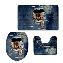 Cats in the Jeans 3D Printing 3-Pieces Toilet Seat Cover