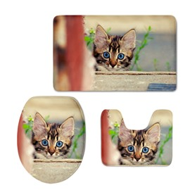 Adorable Cat Printing 3D 3-Pieces Toilet Seat Cover
