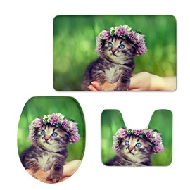 Cute Kitty with Garland 3D Printing 3-Pieces Toilet Seat Cover