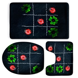 3D Ladybirds and Flowers Printed Flannel 3-Piece Black Toilet Seat Cover