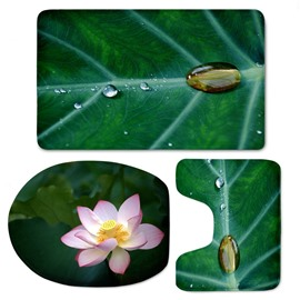 3D Lotus and Lotus Leaf Printed Flannel 3-Piece Green Toilet Seat Cover