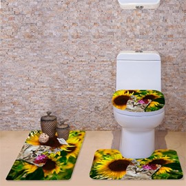 3D Cat in Sunflowers Sea Printed Flannel 3-Piece Toilet Seat Cover