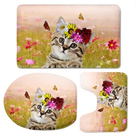3D Cat with Flowers and Butterflies Pattern Flannel 3-Piece Toilet Seat Cover