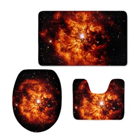 3D Flame-Like Galaxy Printed Flannel 3-Piece Black Toilet Seat Cover
