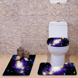 3D Purple Galaxy Printed Flannel 3-Piece Black Toilet Seat Cover