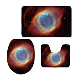 3D Eye-Shape Galaxy Printed Flannel 3-Piece Black Toilet Seat Cover