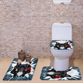 3D Cat With Glasses and Red Rose Pattern Flannel 3-Piece Toilet Seat Cover