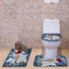 3D Polar Bear Printed Flannel 3-Piece Toilet Seat Cover