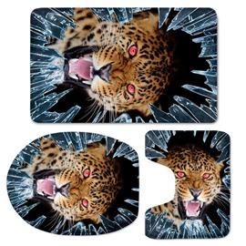 3D Fierce Leopard Printed Flannel 3-Piece Toilet Seat Cover