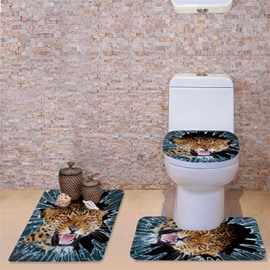 3D Fierce Leopard Printed Flannel 3-Piece Toilet Seat Cover