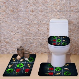 3D Clovers Roses and Butterflies Printed Flannel 3-Piece Toilet Seat Cover