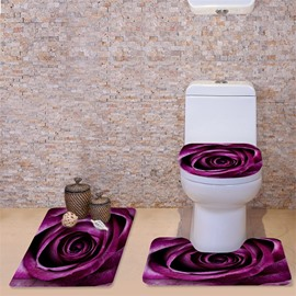 3D Purple Rose Printed Flannel 3-Piece Toilet Seat Cover