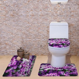 3D White and Purple Orchids Printed Flannel 3-Piece Toilet Seat Cover