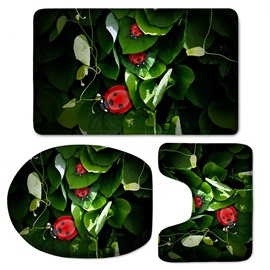 3D Ladybirds on Green Leaves Printed Flannel 3-Piece Toilet Seat Cover