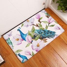 16×24in Peacock and Pink Flowers Flannel Water Absorption Soft and Nonslip Bath Rug/Mat