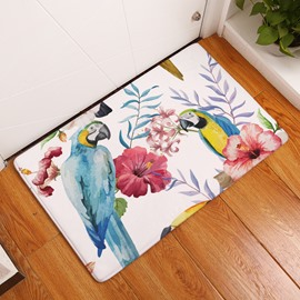 16×24in Parrots on Tropical Plants Flannel Water Absorption Soft and Nonslip Bath Rug/Mat