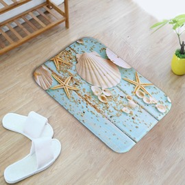 16×24in Shells and Starfishes Flannel Water Absorption Soft and Nonslip Bath Rug/Mat