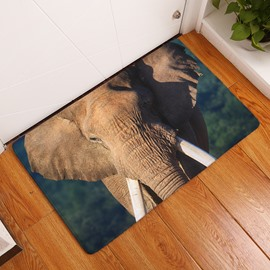 16×24in Brown Elephant Flannel Water Absorption Soft and Nonslip Green Bath Rug/Mat