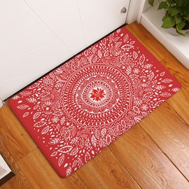 16×24in White Flower Bohemian Style Flannel Water Absorption Soft Nonslip Red Bath Rug/Mat