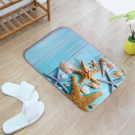 16×24in Starfishes and Shells Flannel Water Absorption Soft and Nonslip Blue Bath Rug/Mat