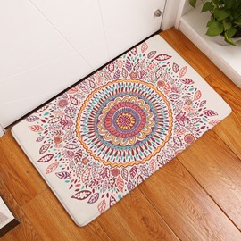 16×24in Colorful Flower Bohemian Style Flannel Water Absorption Soft Nonslip White Bath Rug/Mat