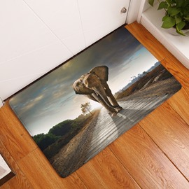 16×24in Marching Elephant Flannel Water Absorption Soft and Nonslip Bath Rug/Mat