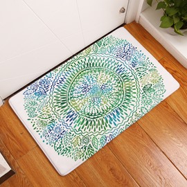 16×24in Green Flower Bohemian Style Flannel Water Absorption Soft Nonslip White Bath Rug/Mat
