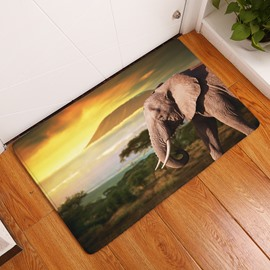 16×24in Elephant in Sunrise Flannel Water Absorption Soft and Nonslip Bath Rug/Mat