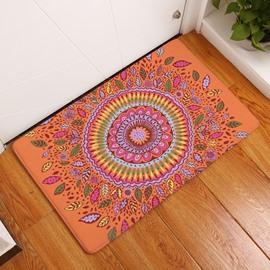 16×24in Flower Bohemian Style Flannel Water Absorption Soft and Nonslip Orange Bath Rug/Mat