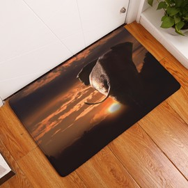 16×24in Elephant and Sunset Flannel Water Absorption Soft and Nonslip Bath Rug/Mat