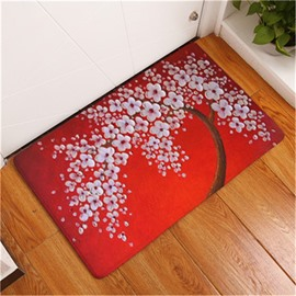 16×24in White Flowers Flannel Water Absorption Soft and Nonslip Red Bath Rug/Mat