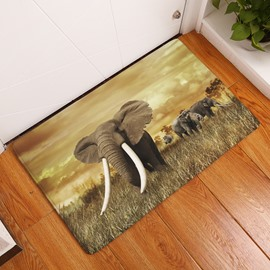16×24in Elephants and Yellow Sunset Flannel Water Absorption Soft and Nonslip Bath Rug/Mat