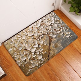 16×24in White Flowers on Tree Flannel Water Absorption Soft and Nonslip Bath Rug/Mat