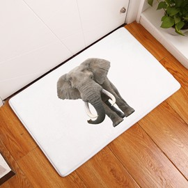 16×24in Elephant Flannel Water Absorption Soft and Nonslip White Bath Rug/Mat
