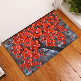 16×24in Red Flowers Flannel Water Absorption Soft and Nonslip Black Bath Rug/Mat